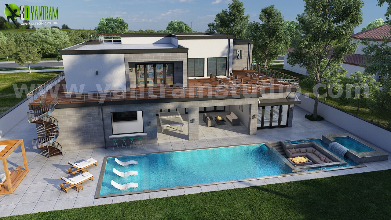 3d walkthrough of Home with Pool Side view by architectural rendering ,Ahmedabad,Services,Other Services,77traders