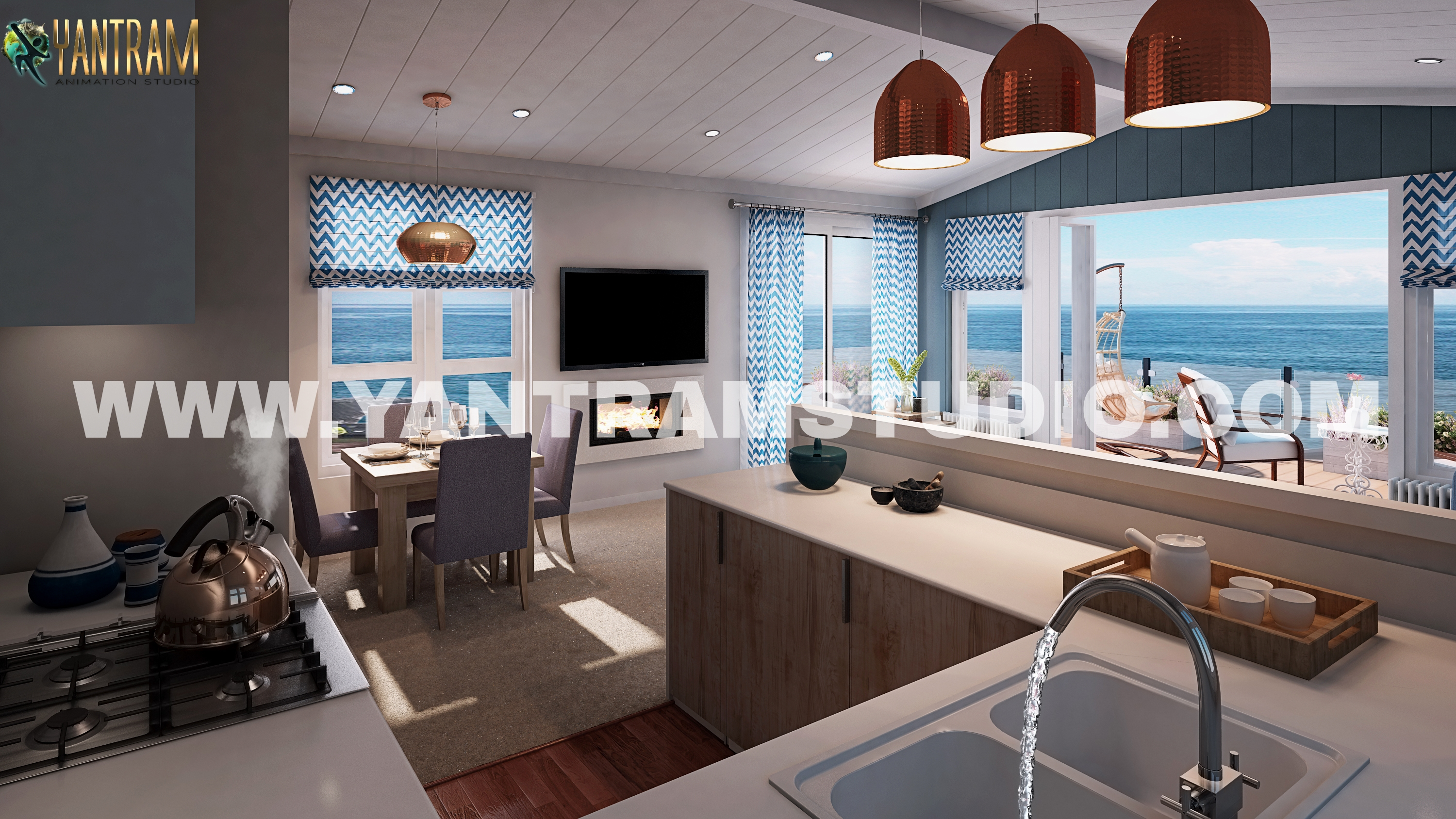 3d interior design of kitchen living room by Architectural Visualisati,Ahmedabad,Services,Other Services,77traders